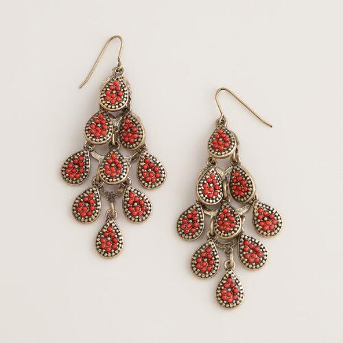Coral and Gold Chandelier Earrings