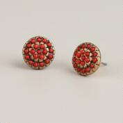 Coral and Gold Round Stud Earrings