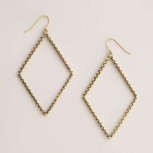 Gold Diamond Shaped Drop Earrings