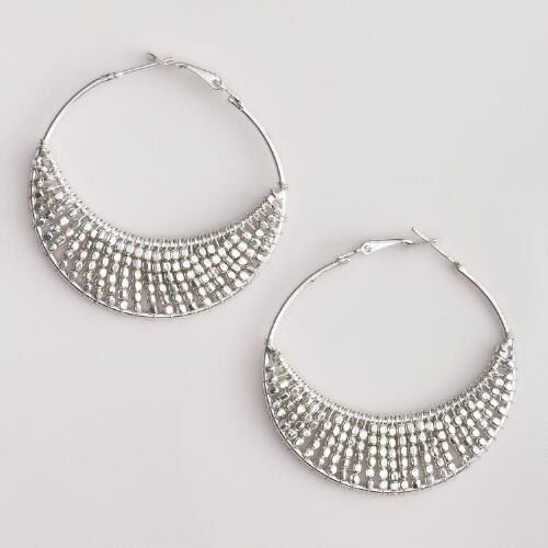 Large Silver Bead Hoop Earrings