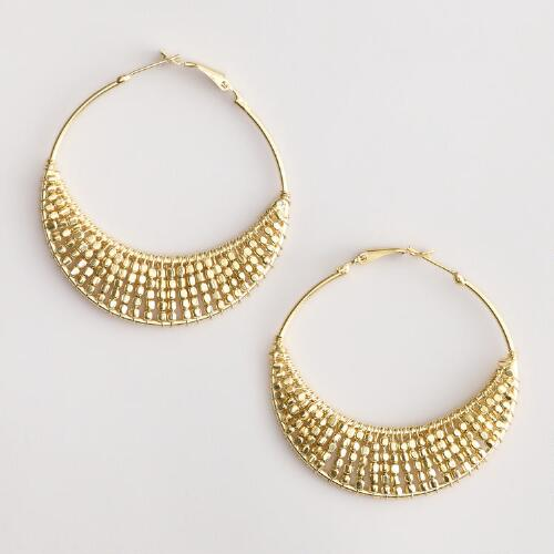 Large Gold Bead Hoop Earrings