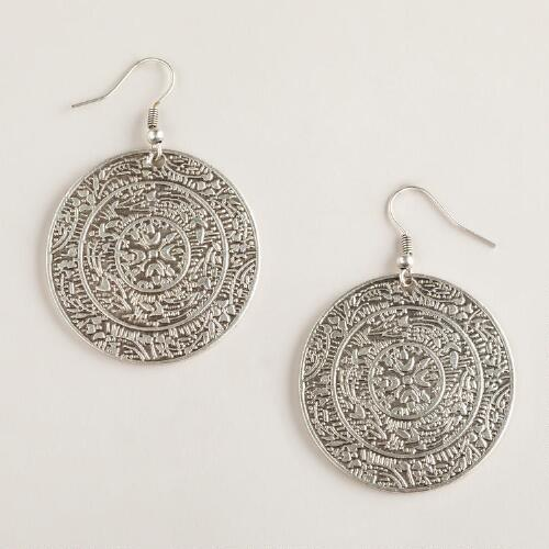 Silver Medallion Drop Earrings