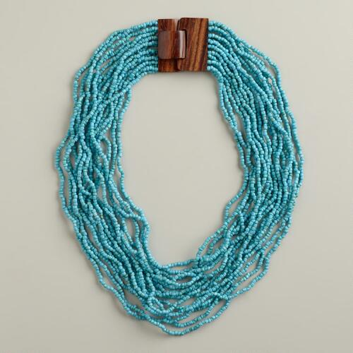 Turquoise Necklace with Wood Clasp
