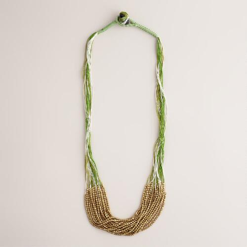 Gold and Green Threaded Necklace