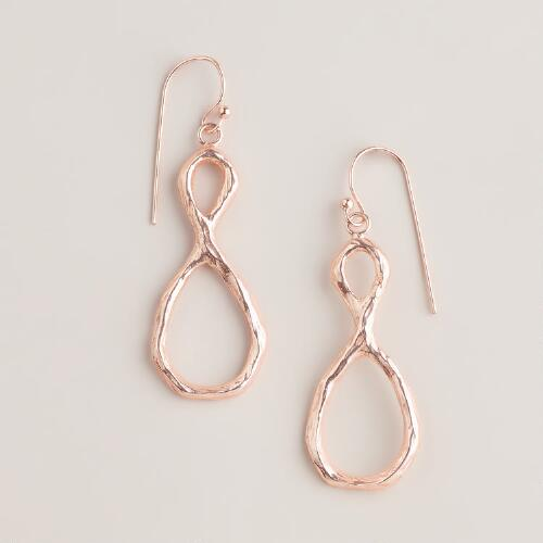 Rose Gold Knotted Drop Earrings