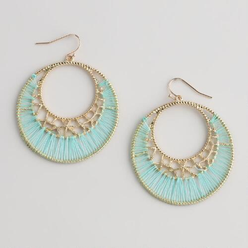 Mint Green Threaded Hoop Earrings