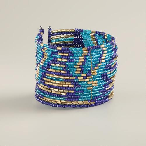 Blue Ikat Beaded Cuff Bracelet