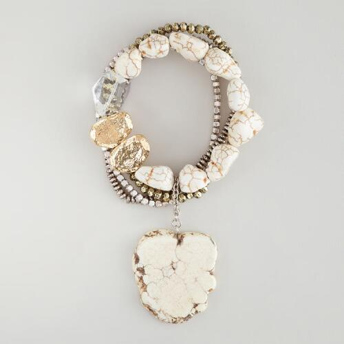 Gold, Silver and White Stretch Bracelet