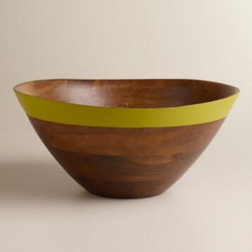 Green Mango Wood Dipped Salad Bowl