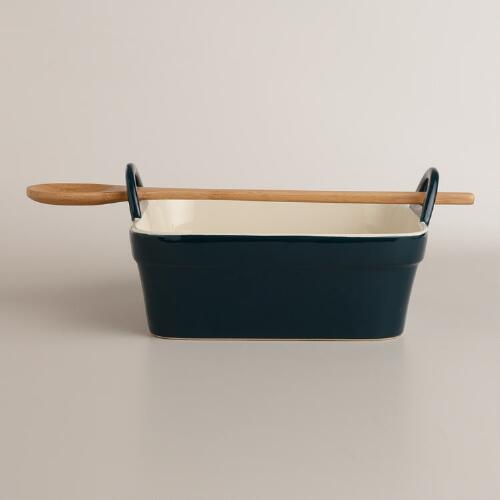 Teal Square Baker with Serving Spoon