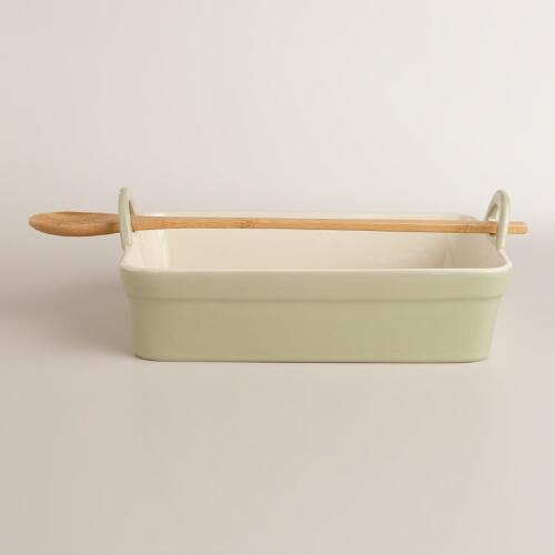 Gray Rectangular Baker with Serving Spoon