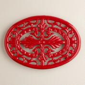 Red Cast-Iron Trivet