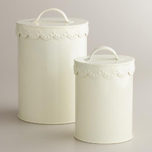 Ivory Vintage Scalloped Top Canisters