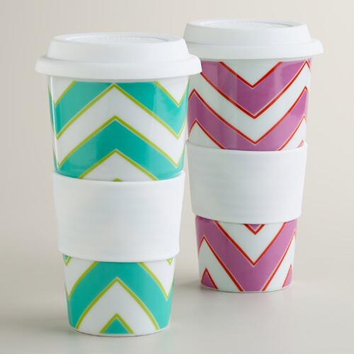 Chevron Non-Paper Cups, Set of 2
