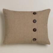 Natural Ribbed Lumbar Pillow with Buttons
