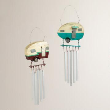 Metal Retro Camper Wind Chime, Set of 2