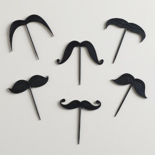 Lip Service Moustache Picks, 18-Count