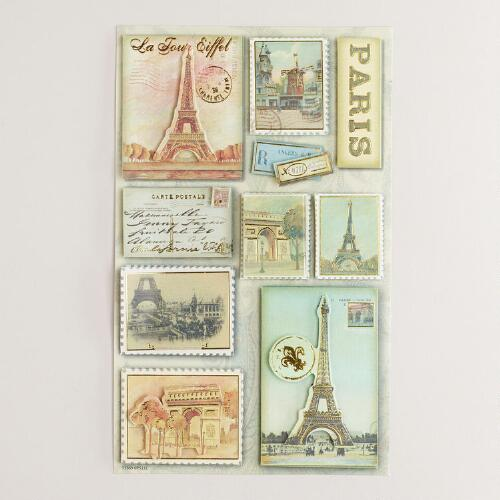 3-Dimensional Paris Stickers, 10-Count