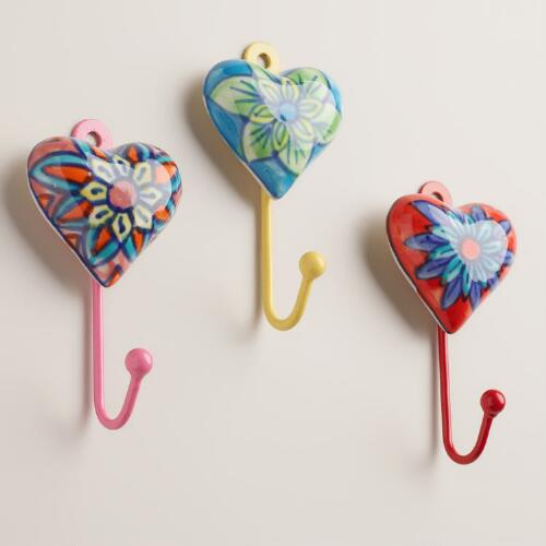 Small Heart Hooks, Set of 3