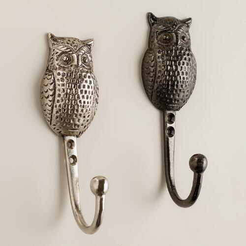 Metal Owl Hooks, Set of 3