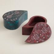Paisley Soapstone Jewelry Boxes, Set of 2