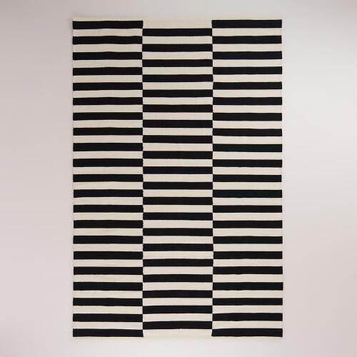 Black and White Striped Dhurrie Rug
