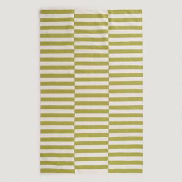 Green and White Stripe Dhurrie Rug