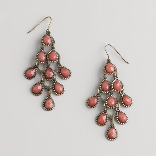 Coral Tiered Chandelier Earrings