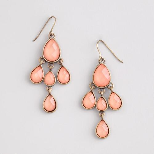 Pink Stone Faceted Chandelier Earrings