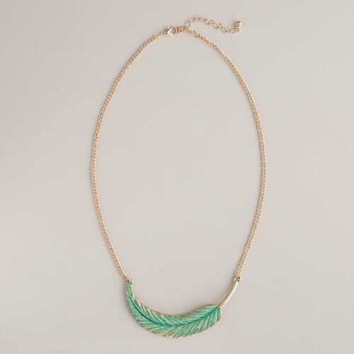 Mint Chain Leaf Necklace
