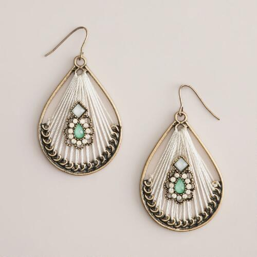 Gold with Stone Center Teardrop Earrings