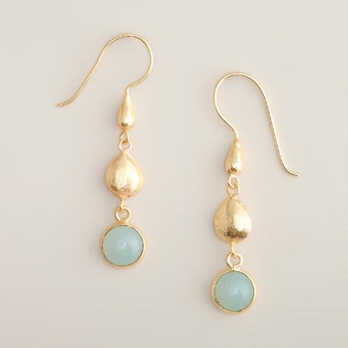 Gold Three-Tier Teardrop Earrings