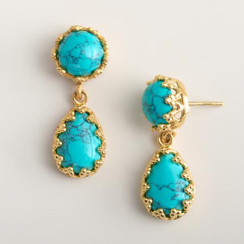 Turquoise and Gold Double Drop Earrings