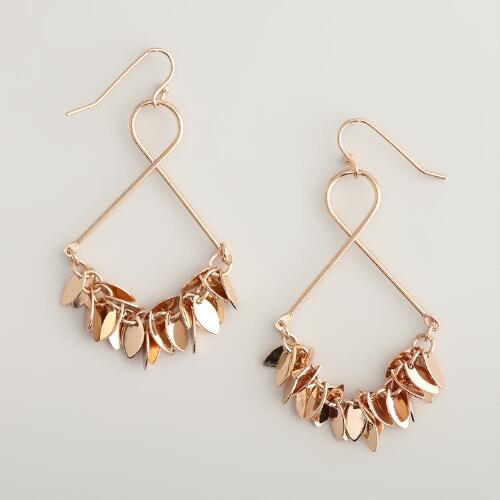 Gold Metal Twisted Dangle Earrings