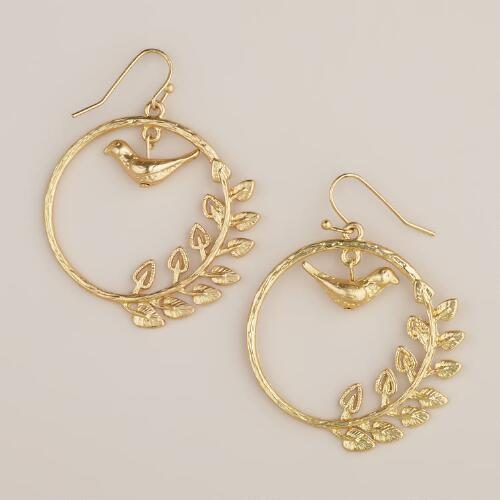 Gold Bird Drop Hoop Earrings