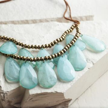 Mint and Brown Suede Teardrop Necklace