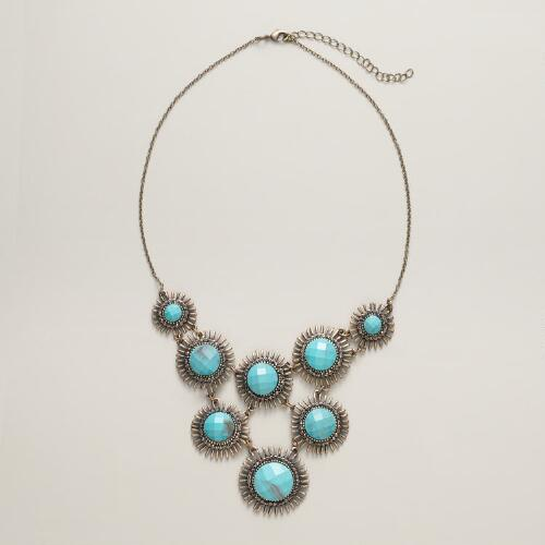 Turquoise and Gold Stone Statement Necklace