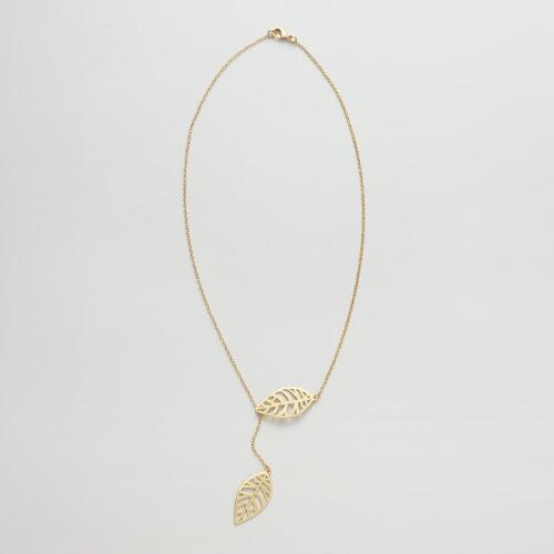 Gold Double Leaf Necklace