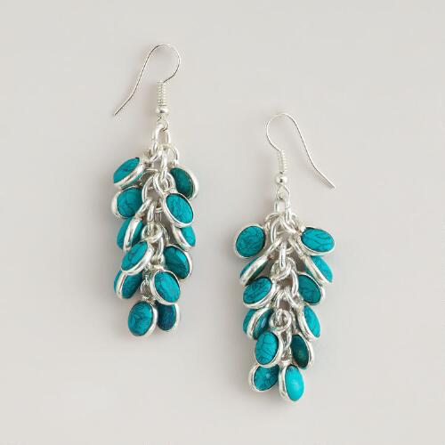 Turquoise and Silver Beaded Cluster Earrings