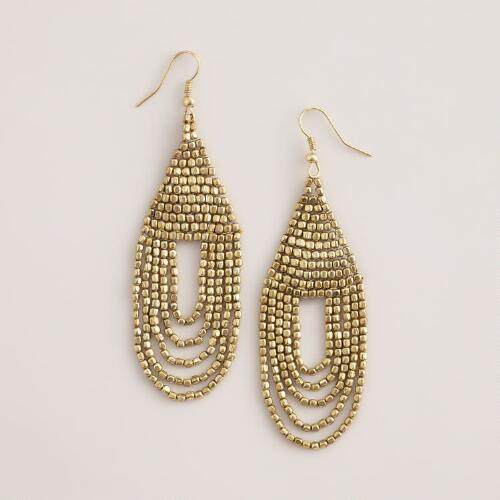 Gold Beaded Teardrop Earrings