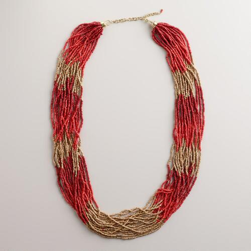 Red and Orange Seed Bead Multi-Strand Necklace