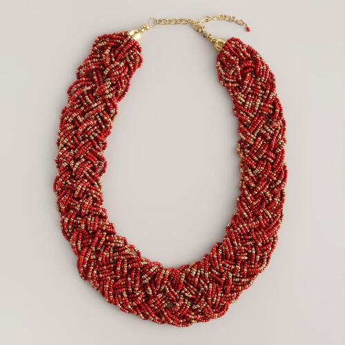Coral Braided Seed Bead Necklace