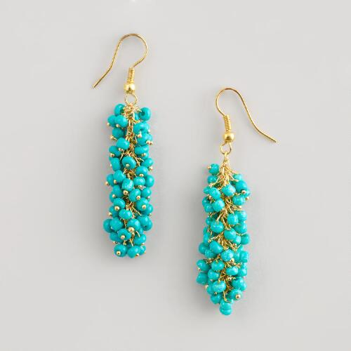 Turquoise and Gold Bead Cluster Earrings