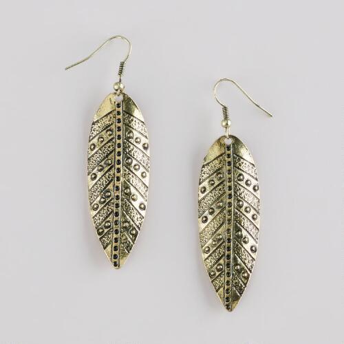 Gold Long Leaf Earrings