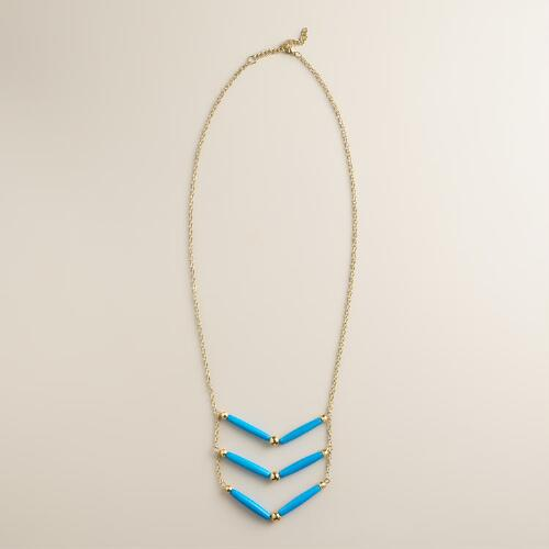 Blue Chevron Bead Necklace