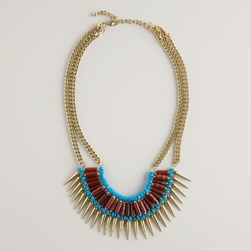 Gold Tribal Bead Necklace