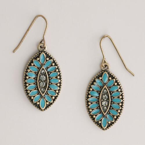Blue Stone Leaf Drop Earrings
