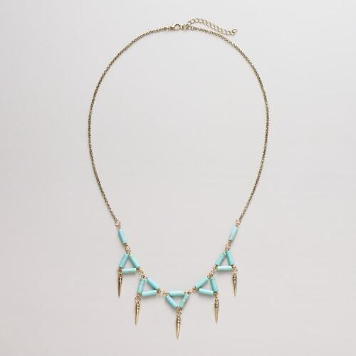 Turquoise and Gold Triangle Spike Necklace