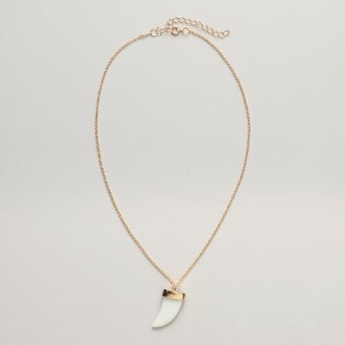 Ivory and Gold Horn Pendant Necklace