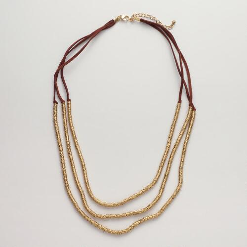 Gold and Brown Suede Multi-Strand Necklace